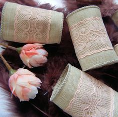 TAN and PEACH LACE, Wedding, Napkin Rings, Table Decor, Home Decor, Gift, Spring, Summer, Rustic, Wide, Durbable, Handmade, Set of 25 by ModernClassicbyCarol on Etsy