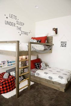 Use these free DIY bunk bed plans to build the bunk bed your kids have been dreaming about. All the bunk bed plans include diagrams and directions. Bunk Beds With Stairs, Kids Bunk Beds, Boys Bunk Bed Room Ideas, Bunk Bed Ideas For Small Rooms, Bunkbeds For Small Room, Boys Bedroom Ideas 8 Year Old, Kids Beds For Boys, Bunk Beds Small Room, Bunk Beds For Toddlers
