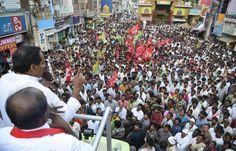 JSP President N Kiran Kumar Reddy Road Show at Sri Kalahasti.