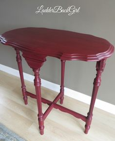 Vintage table painted in Annie Sloan Burgundy. Cherry Furniture, Retro Furniture, Colorful Furniture, Upcycled Furniture, Diy Furniture, Burgundy Paint, Annie Sloan Paints, Chalk Paint Furniture, Vintage Table