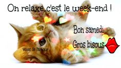 On relaxe. c'est le week-end ! Bon Weekend, Bon Samedi Image, Good Night, Good Morning, Good Saturday, Week End, Cute Animals, Messages, Motivation