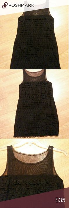 SALE!!! BCBG Max Azria Black Dress, lace size 6 Black size 6 BCBG lace cocktail dress with mesh sleeves and neckline. I only wore it once bit it's a great dress for casual or fancy. BCBGMaxAzria Dresses Midi