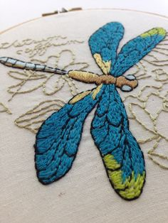 hand embroidery. dragonfly art. scientific hoop. textile art. fine art. insect dragonfly design.green. wall art. dragon fly. grief recovery by daisyeyeshandmade on Etsy https://www.etsy.com/listing/233549298/hand-embroidery-dragonfly-art-scientific
