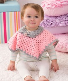 Sweet Baby Poncho Free Crochet Pattern from Red Heart Yarns