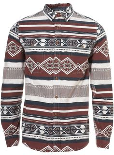 BURGUNDY AZTEC PATTERN SHIRT - Topman Price: £32.00