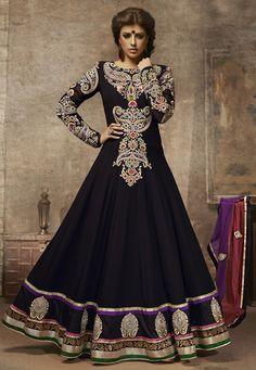 Black Faux Georgette Abaya Style Churidar Kameez Online Shopping: KMR88