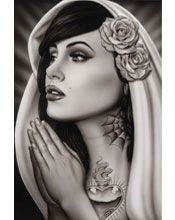 Black Market Art Company | Tattooed Mary Art Print Spider Artwork