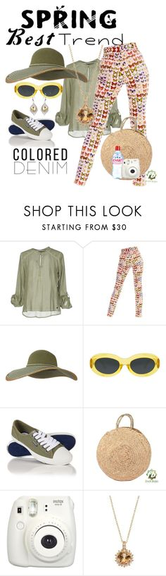 """""""Versace iconic butterfly jeans"""" by daincyng ❤ liked on Polyvore featuring Versace, Keds, Dries Van Noten, Superdry, Fujifilm and coloredjeans"""