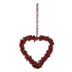Amazon.com: Christmas Decoration Red Glass Beaded Hanging Hearts Ornaments Xmas Set of 2: Home & Kitchen