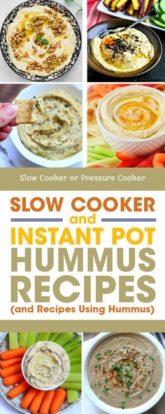 Hummus is a tasty and nutritious snack, and making your own hummus is easy with these Slow Cooker and Instant Pot Hummus Recipes! And once you've made some homemade hummus, this post has recipe ideas for using it. [found on Slow Cooker or Pressure Cooker] Slow Cooker Lentils, Vegan Slow Cooker, Slow Cooker Recipes, Delicious Vegan Recipes, Vegetarian Recipes, Tasty, Healthy Recipes, Classic Hummus Recipe, Cooking Dried Beans