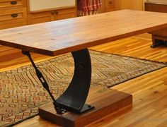 Cantilever Table with Metal Base