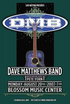 Original Dave Matthews band poster from their gig at the Blossom Music Center in August, Also appearing was Pete Yorn. Pete Yorn, Dave Matthews Band Posters, Blossom Music Center, Tour Posters, Music Posters, Cuyahoga Falls, Vintage Concert Posters, Him Band, Sale Poster