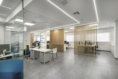 Office architectural & interior design realised by STIRIXIS Group for the renovation of Marine Tours SA. Modern lighting is selected for the offices. Office Interior Design, Office Interiors, White Office Furniture, Glass Partition, Strategic Planning, Furniture Making, Modern Lighting, Architecture Design, Tours