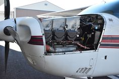 Engine of a 1975 Cessna T210L Turbo Centurion at KBLI. The plane is for sale. Go to www.Tomahawkaero.com for more info.