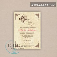 Once upon a time invitation | Book Themed Baby Showers | Pinterest ...