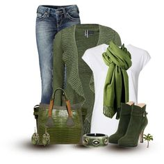 Jeans outfit... Love the green! :) If only the over layer shawl thingy was a zip hoodie