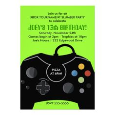 BOYS Birthday Video Game Station Party Invitation Sleepover Boy Parties 8th