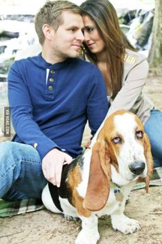 Happy couple upload over 300 wedding pictures to Facebook. The dog's expression speaks for us all.