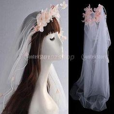 Hochzeit Brautschleier Kurz Schleier mit Rosa Blumen Braut Kopfschmuck Weiß Boho Wedding