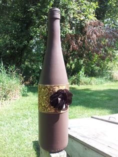 Painted Decorative Wine Bottle by HappinessHandcrafted on Etsy