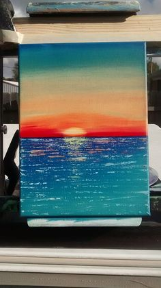 This is a x oil on canvas painting by Eric H. Name: The Sun is Sinking. This is a x oil on canvas painting by Eric H. Name: The Sun is Sinking. Simple Canvas Paintings, Easy Canvas Art, Small Canvas Art, Easy Canvas Painting, Mini Canvas Art, Cute Paintings, Oil Paintings, Sunset Painting Easy, Ocean Paintings