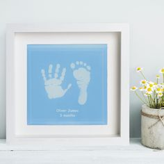 Baby Blue Framed Glass Tile Displaying Hand and Foot Prints