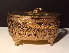 Ornate Vintage Filigree Oval Jewelry Box - 1950s Beveled Glass  Vanity /Dresser Rose Motif  on Etsy, $45.00