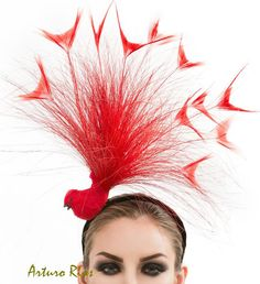Red Bird Fascinator Red headpiece couture hat by ArturoRios