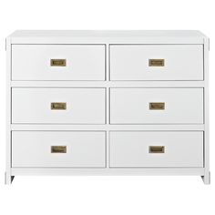 Create a space that is fun and sophisticated with the delightful Miles 6-Drawer Dresser by Baby Relax. Combining campaign and modern style, this charismatic dresser is crafted with a sturdy wood construction and includes six spacious drawers. Transform this dresser into a delightful changing table with the purchase of the Baby Relax Miles Dresser Topper. From functionality also sprang great design with modern features such as clean lines, a fresh classic white finish, and aged brass sunken…