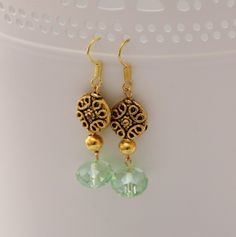 Elegant Spring Earrings: Green crystals and golden filigree beads full of life. Free delivery in Australia by 4Dignity on Etsy