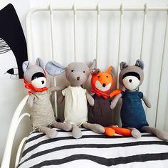 Cute new rompers! #hazelvillage #dressup #softtoy #organic #friends #forest #raccoon #fox #mause #poster #bedding #littlelovedones #kidsroomdecor #kraamcadeau #babygift #nursery