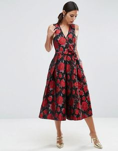 Discover Fashion Online | ASOS Jumpsuit with Wide Leg in Floral Jacquard