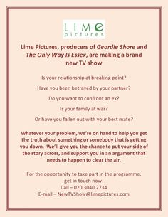 Lime Pictures are casting for a new TV show! Interested E: NewTVshow@limepictures.com