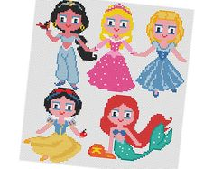 PRINCESSES  Cross stitch Pattern PDF  Jasmine Aurora by POWSTITCH