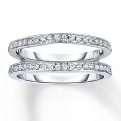 diamond enhancer ring14 ct tw round cut14k white gold double wedding bandswedding - Double Band Wedding Ring