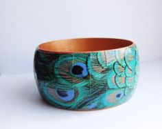 Peacock Wooden Bangle Decoupage