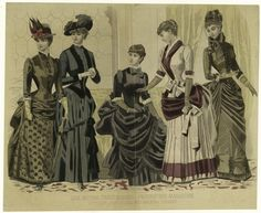 1884 House And Walking Dresses. From New York Public Library Digital Collections.
