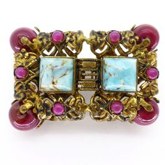Vintage Art Deco Czech Duck Egg Blue & Magenta Glass Filigree Ornate Gold Metal Brooch
