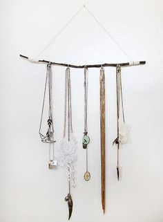Creative Jewelry Storage Ideas Branch With Hanging Jewelry