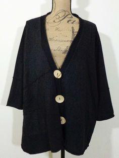 Fenini jacket lagenlook top art to wear artsy black quirky artist USA sz 1X #Fenini #BasicJacket
