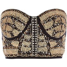 River Island Black embellished front bustier crop top ($26) ❤ liked on Polyvore featuring tops, shirts, crop top, bustier, bralet, sale, bralette crop top, sequin bustier, beaded top and bralet crop top