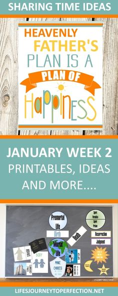 2018 Primary Sharing Time Ideas for January Week Heavenly Father's plan is a plan of happiness Fhe Lessons, Primary Lessons, Plan Of Salvation Lds, Life's Journey To Perfection, Kids Church Rooms, Visiting Teaching Handouts, Relief Society Activities, Primary Activities, Scripture Study