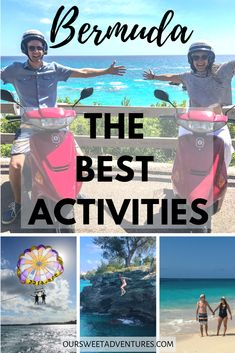 For a small island, there are so many amazing activities to enjoy in Bermuda. From driving a scooter, to parasailing high above turquoise waters, cliff jumping into the ocean and more. There is something for everyone in Bermuda. Bermuda Vacations, Bermuda Travel, Caribbean Vacations, Honeymoon Cruises, Cruise Travel, Mexico Vacation, Mexico Travel, Destin Beach, Beach Trip