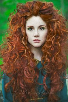 """Could be """"Brave"""" heroine in real life :)   Merida-inspired BIG curls. I absolutely adore the colours and colour technique."""