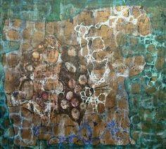 Janis Provisor, GREEN STEM, 1993, Oil and metal leaf on canvas