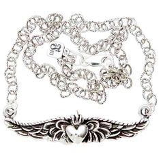 Petite Winged Sacred Heart Sterling Silver Necklace [N-Petite-Winged-Sacred] - $130.00 : Black Orchid Couture, Gothic, Punk, Steampunk, Rockabilly Clothing and Fashion