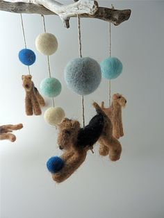 Baby Mobile, Felted Wool Dogs, Custom Dog Breeds, Terriers with Natural Driftwood, 4 Figures. $315.00, via Etsy.