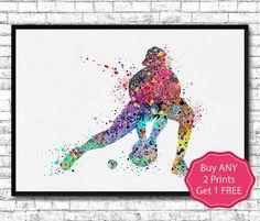 Baseball Softball Catcher Sports Art Print Watercolor by ArtsPrint