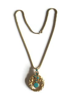 Vintage Panetta Modernist Turquoise Pendulum and Crystal Rhinestone Pendant Necklace