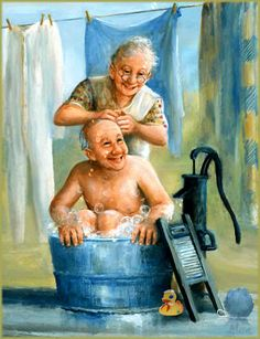 LA ABUELA BAÑA AL ABUELO Diamond Drawing, 5d Diamond Painting, Diamond Art, Vieux Couples, Old Couples, Foto Picture, Grow Old With Me, Growing Old Together, Old Folks